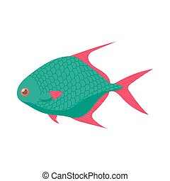Tropical fish icon, cartoon style - Tropical fish icon in...