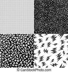 80s retro memphis pattern set with geometric shape - Set of...