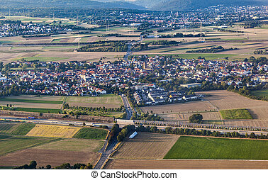 aerial of Weilbach in Hesse, Germany - aerial of village...