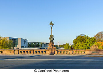 Moltke Bridge in Berlin at river spree with german...