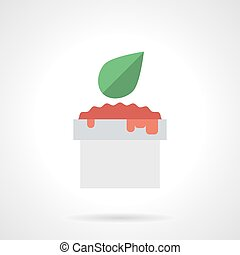 Tomato sauce flat color vector icon - White bowl of tomato...