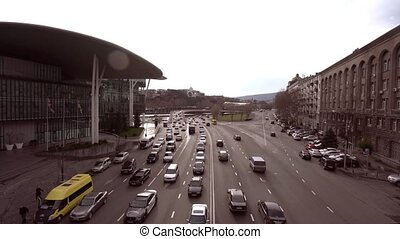 View on road traffic near the Ministry of Justice Tbilisi,...