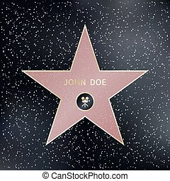 Hollywood walk of fame star. Vector illustration - Hollywood...