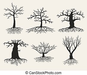 Vector bare tree silhouettes with roots