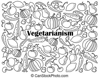 Vegetarianism colorless set vector illustration -...