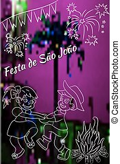 Festa Junina vector elements on blurred, night time...