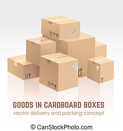 Goods in cardboard boxes. Vector delivery and packing...