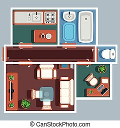 Apartment floor vector plan with furniture Plan apartment,...