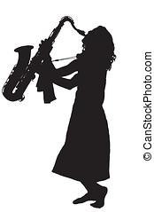 silueta, jovem, descalço, mulher, tocando, saxofone