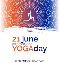 Template of poster for Yoga Day - Vector yoga illustration....