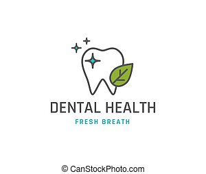 Dental health icon or logo template. Tooth with leaf line...