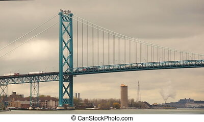 Ambassador Bridge Carries Traffic Across Detroit River United States Canada