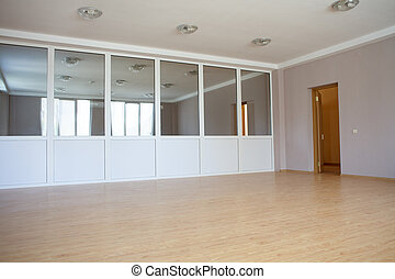 large room with a partition mirrors