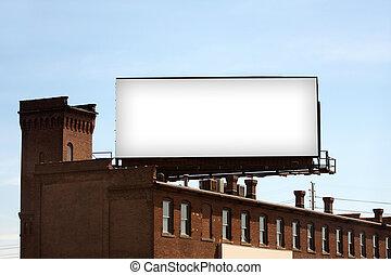 Blank Urban Billboard - A large blank urban billboard with...