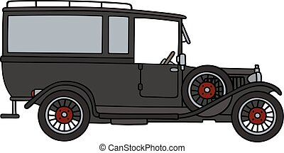 Vintage funeral car - Hand drawing of a vintage funeral car...