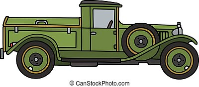Vintage green dustcart - Hand drawing of a vintage green...