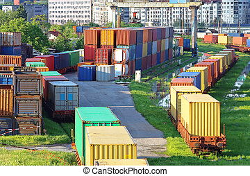 Cargo Containers - Shipping Containers in Cargo Railway...