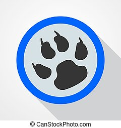 Animal tracks - vector illustration. - Blue button with...