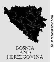 Black Bosnia and Herzegovina map - vector illustration -...