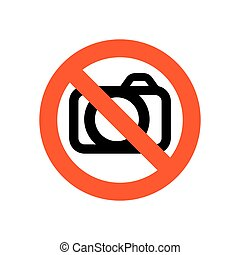 Sign prohibiting photographing - vector illustration. No...
