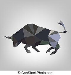 Triangular bull - vector illustration.
