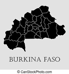 Black Burkina Fasoi map - vector illustration - Black...