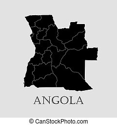 Black Angola map - vector illustration - Black Angola map on...