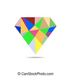 Diamond icon - vector illustration - Diamond icon in mosaic...