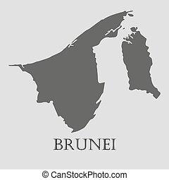 Black Brunei map - vector illustration - Black Brunei map on...