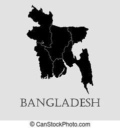Black Bangladesh map - vector illustration - Black...