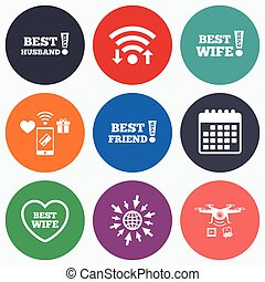 Best wife, husband and friend icons - Wifi, mobile payments...