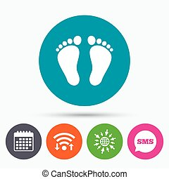 Child pair of footprint sign icon. Barefoot . - Wifi, Sms...