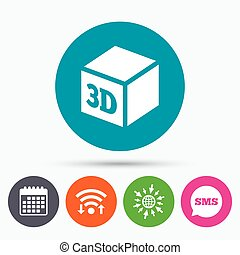 3D Print sign icon 3d cube Printing symbol - Wifi, Sms and...