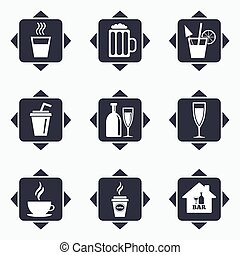 Cocktail, beer icons Coffee and tea drinks - Icons with...