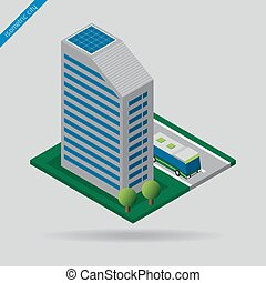 isometric city - bus on road, building and trees - isometric...