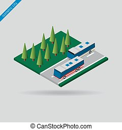 isometric city - two buses on road and trees - isometric...