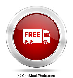 free delivery icon, red round glossy metallic button, web...