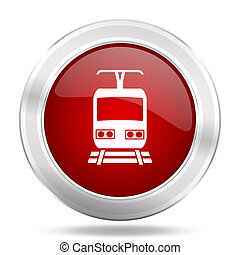 train icon, red round glossy metallic button, web and mobile...