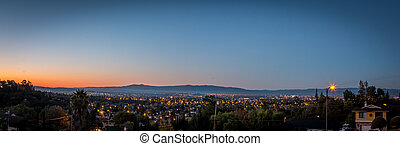 Silicon Valley at Dawn - Panoramic view of sunrise on...