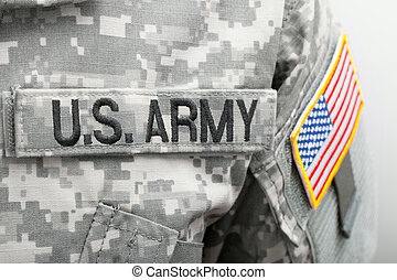 US flag and U.S. ARMY patch on military uniform - close up studio shot