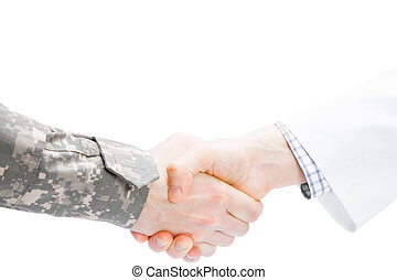 Doctor and military man shaking hands on white background -...