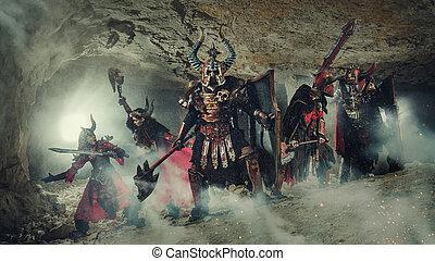 batalha, de, Poderoso, cavaleiros, em, pesado, armadura, em,...
