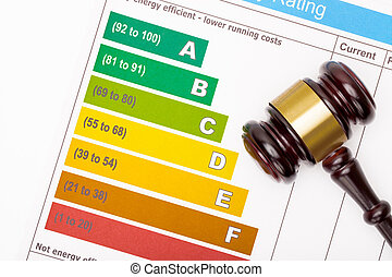 Wooden judge gavel over colorful efficiency chart - view...