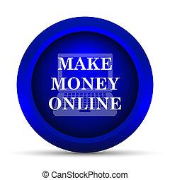Make money online icon Internet button on white background
