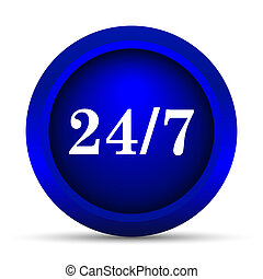 24 7 icon. Internet button on white background.