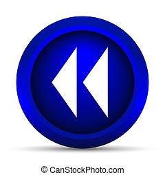 Rewind icon Internet button on white background