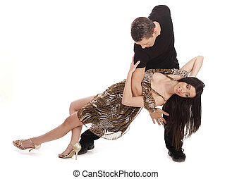 lovely couple dancing in a romatic way on a white background
