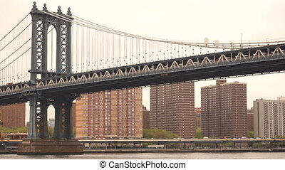 New York City Manhattan Bridge East River Auto...