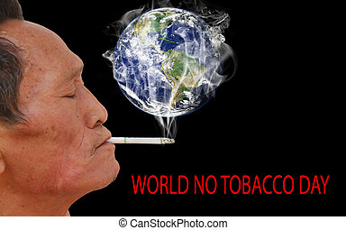 World no Tobacco Day - Asian old man smoking cigarette Face...