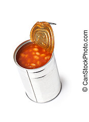 beans in tin can - photo shot of beans in tin can